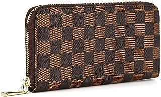 Daisy Rose Women's Checkered Zip Around Wallet and Phone Clutch - RFID Blocking with Card Holder Organizer -PU Vegan Leather