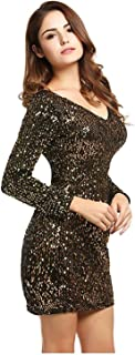 d12ffbaafe7 BLUETIME Women s V Neck Long Sleeve Sequined Cocktail Party Club Evening  Mini Dress