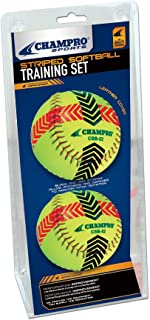 Champro Striped Training Softball Set (Optic Yellow, 12-Inch)