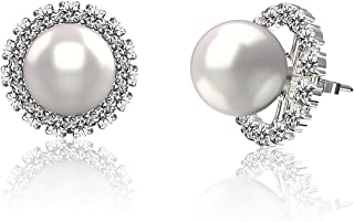 925 Sterling Silver AAA+ 7-8mm Freshwater Cultured Pearl & Cubic Zirconia Convertible Halo Stud Earrings