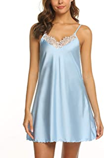 Ekouaer Sleepwear Women's Sexy Lingerie Satin Lace Chemise Nightgown Loungewear S-XXL
