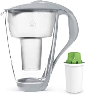 Dafi Alkaline UP Crystal Glass Filtering Water Pitcher 8 Cups LED + 1 Alkaline Up Filter Gray BPA-Free