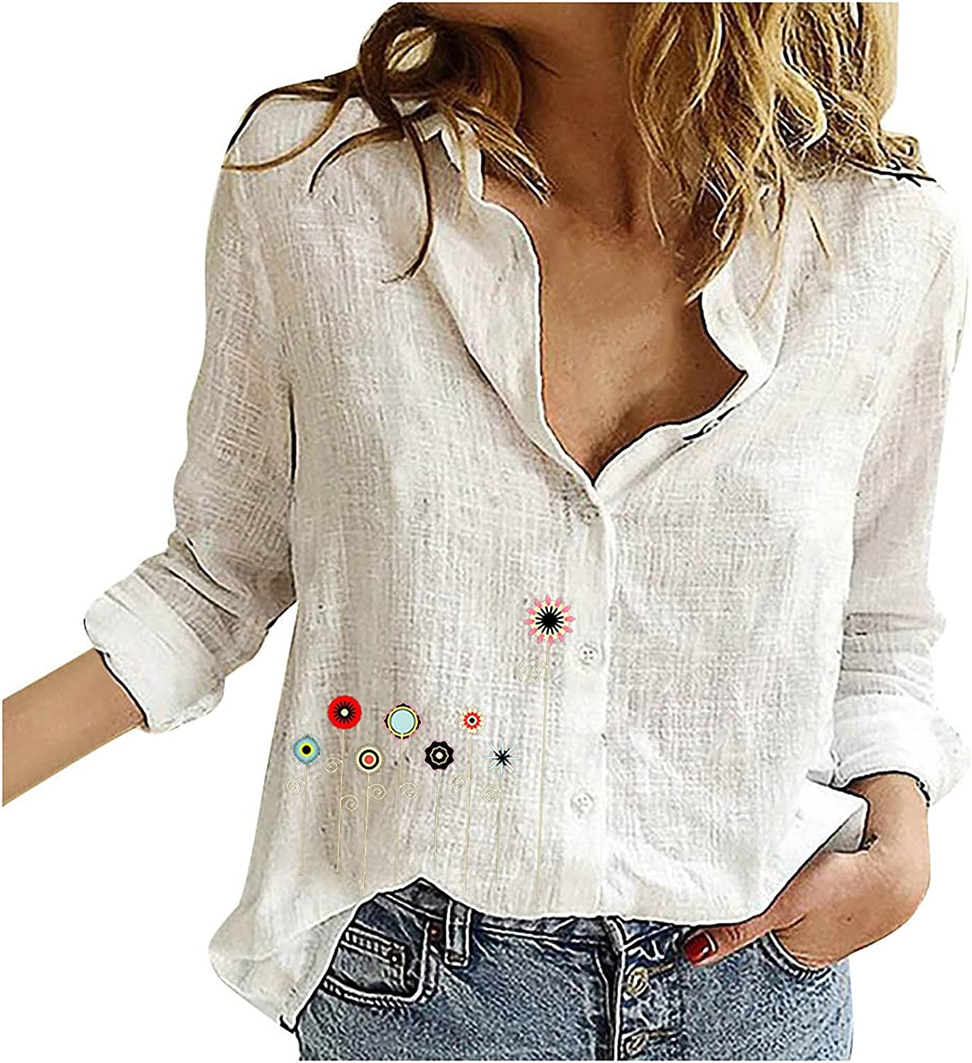 Fall Clothes for Women Long Sleeve Tee Shirts V-Neck Loose Fit Cotton Linen Tops Buttons Lapel Cute Printed Slim Blouses