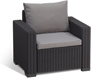 Keter California All Weather Outdoor Patio Armchair with Cushions in a Resin Plastic Wicker Pattern, Graphite/Cool Grey