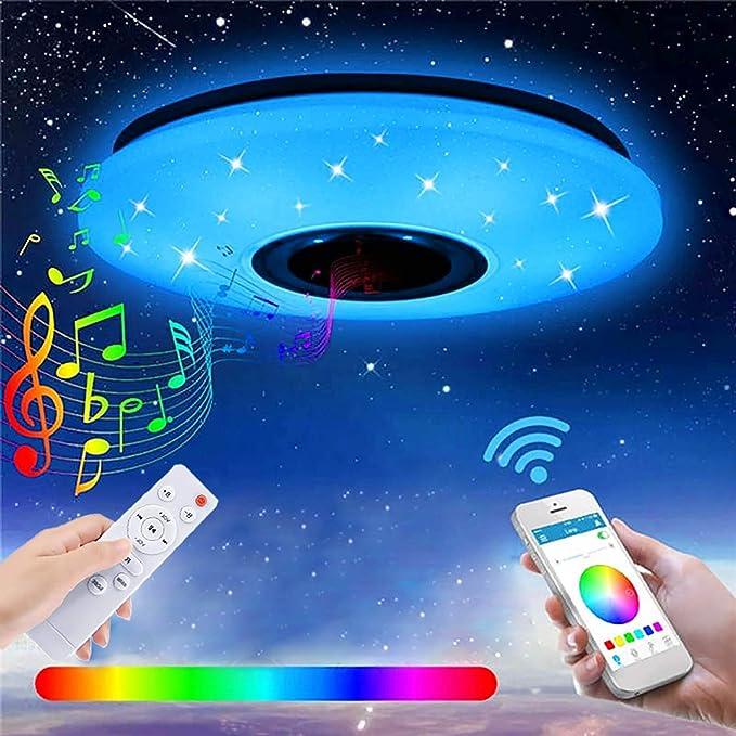 Lampada da Soffitto LED Dimmerabile 60W con Altoparlante Bluetooth, Regolabile Bianco Freddo Caldo RGB APP & Telecomando Musica Plafoniera Camera da letto stelle bambini (Paralume Stellato Bianco)