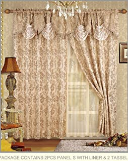Fancy Collection Embroidered Curtain Set 4 Piece Gold Beige Drapes with Backing & Valance & Tie Backs # B-30
