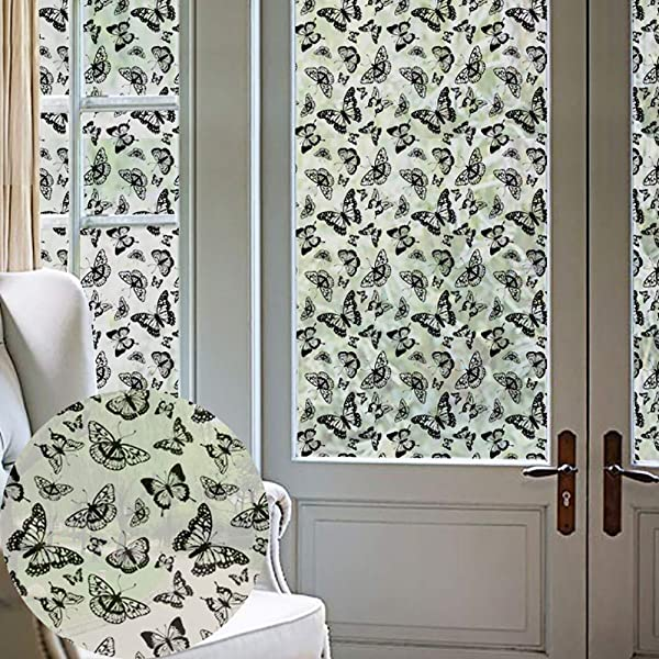 Musitelying Butterfly Frosted Privacy Window Sticker Film Bathroom Home Glass Easy To Apply Decal Decor
