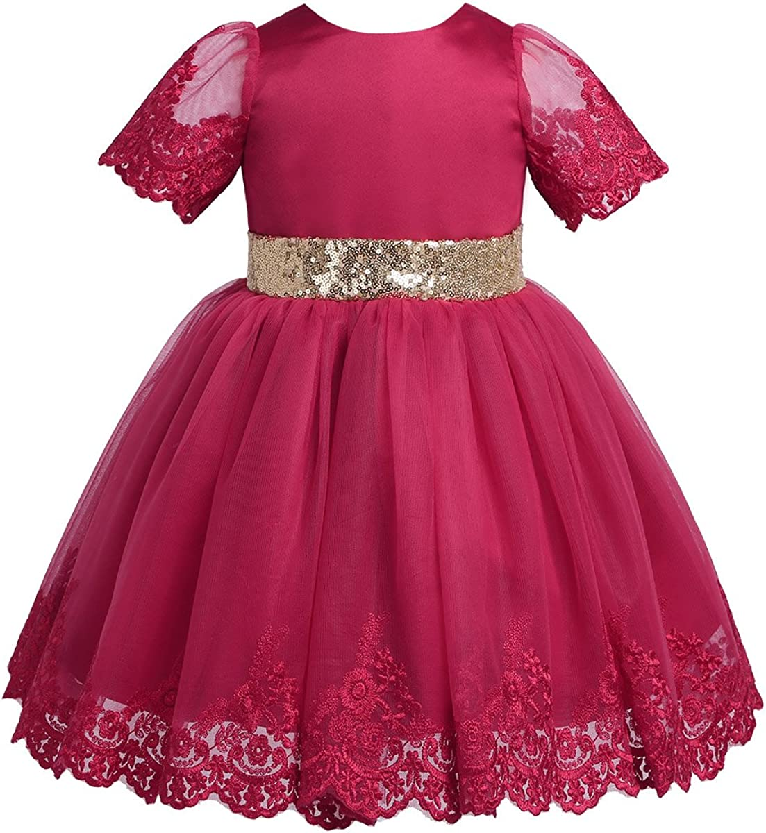 YiZYiF Sequins Baby Girls' まとめ買い特価 訳あり Embroidery Ch Floral Princess Wedding