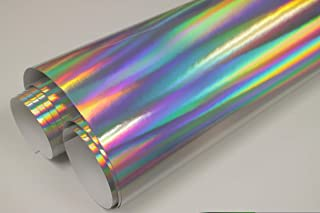Hachi Auto Silver Holographic Rainbow Chrome Vinyl Car Wrap (1FT x 5FT)