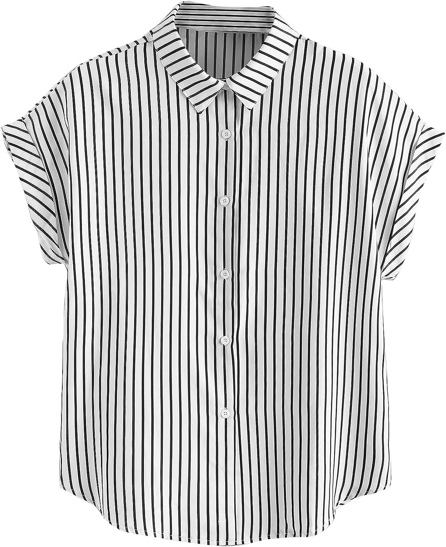 Milumia Women's Plus Basic Striped Button Down Collar Work Shirt Cuffed Sleeve Blouse Top