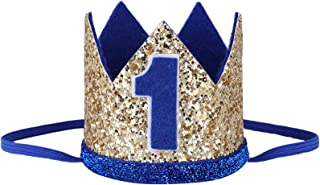 TACKMETER Baby Boys Girls Frist 1st Birthday Hat Sparkly Prince/Princess Party Accessories Crown Tiara Hat Photo Shoot Prop