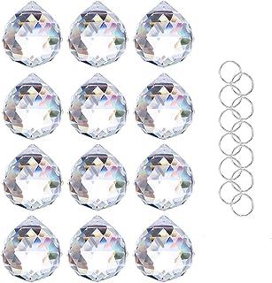 Crystalsuncatcher Clear Glass Crystal Ball Prism Feng Shui Lamp Hanging Drop Chandelier Pendants Suncatchers Pack of 12 pc...