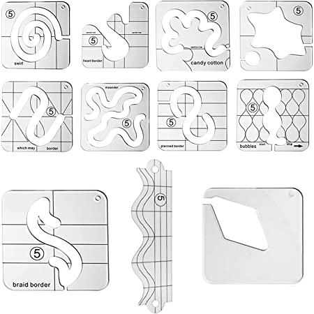 Freemotion Quilting Templates Stencils Frames TXIN 6 Pcs Quilting Templates Acrylic Sampler Ruler Clear Free Motion Quilting Rulers for Domestic Sewing Machine Household Patchwork Sewing Tools