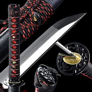 1060 Red/Golden/Blue High Carbon Steel,Handmade Sword Japanese Samurai Katana, Functional, Hand Forged, Heat Tempered, Full Tang, Sharp,Battle Ready,Wooden Scabbard,Sharp Knife