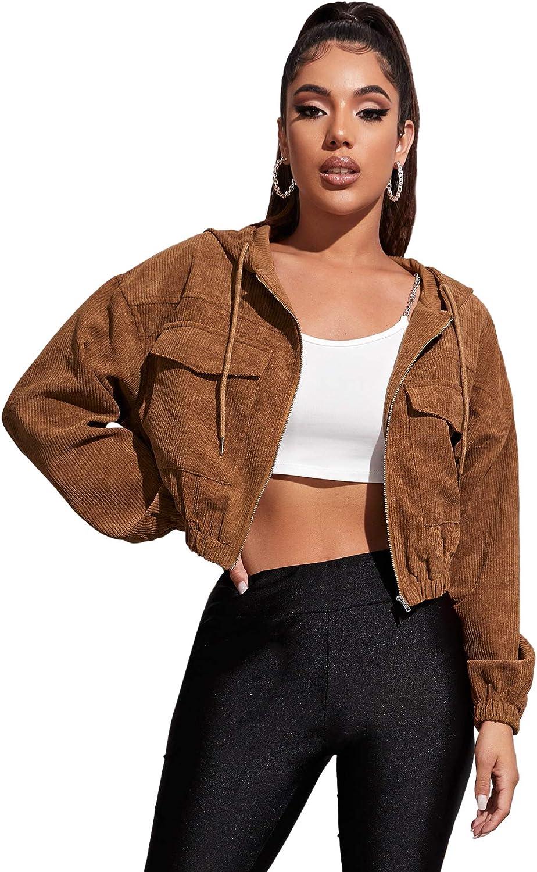 SweatyRocks Women's Casual Corduroy Zip Up Drawstring Hooded Crop Top Jacket