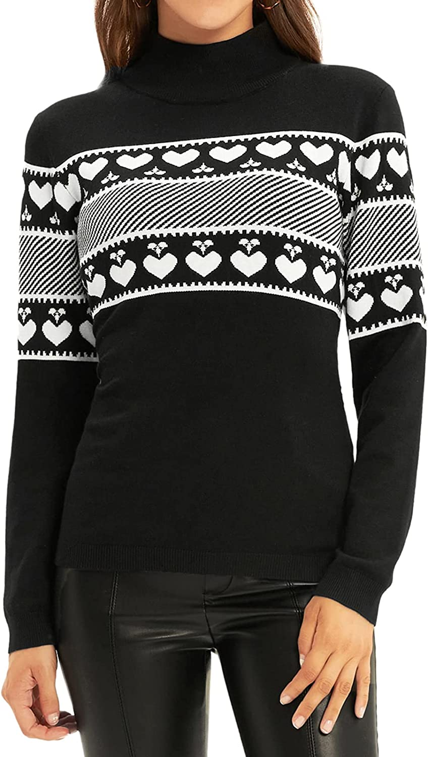 GRACE KARIN Long Sleeve High Neck Knit Sweater Lightweight Heart Printed Slim Fit Pullover Top