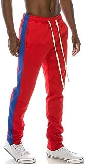 Mens Premium Slim Fit Side Striped Color Jogger Pants W/Ankle Zipper