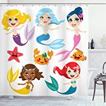 Ambesonne Underwater Shower Curtain, Illustration of Colorful Mermaids and Sea Friends Kids Cheering Joyful, Cloth Fabric Bathroom Decor Set with Hooks, 84 Long Extra, White Orange