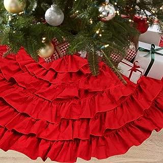 NIGHT-GRING 50 Inch Red Burlap Ruffled Xmas Christmas Tree Skirt Christmas Decorations
