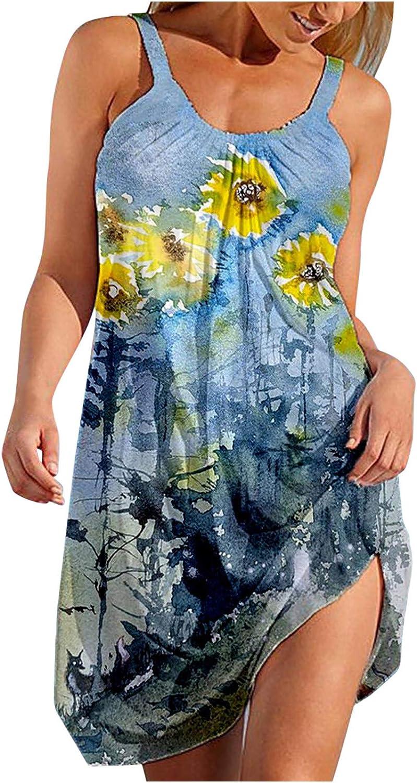 Toeava Summer Dresses for Women, Fashion Sexy Sleeveless Cute Cartoon Print Strap Beach Party Dress Casual Tank Dress
