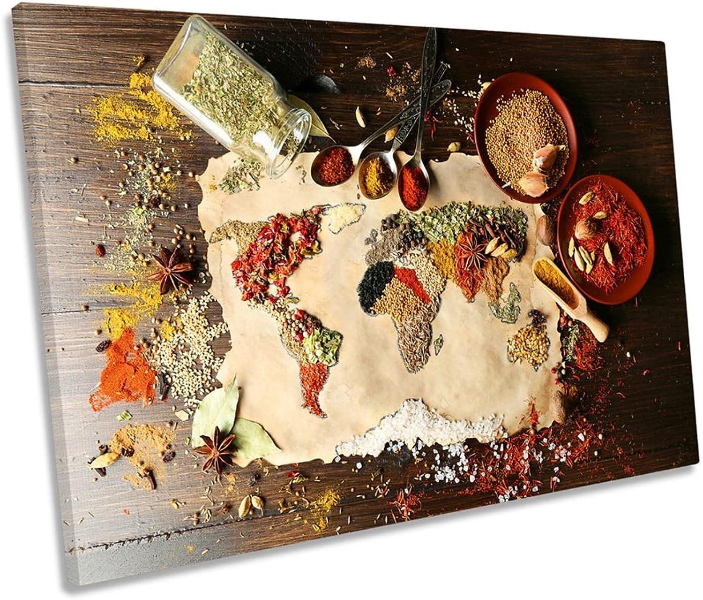 te hará satisfecho Mapa Mapa Mapa del Mundo Cocina Single Canvas Parojo Art Impresión, 60cm Wide x 40cm High  tienda hace compras y ventas