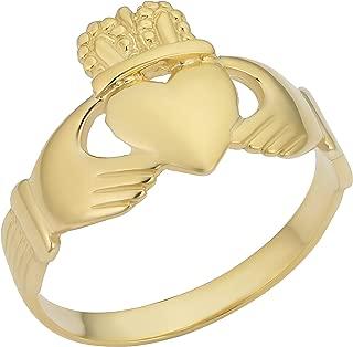 KoolJewelry 14k Yellow or White Gold Claddagh Minimalist Ring (size 9)