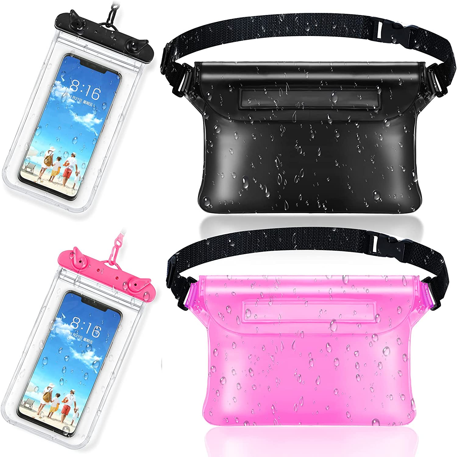 Frienda 2 Pieces Waterproof Phone Pouch Universal Cellphone Case and 2 Waterproof Fanny Pack with Waist Strap Screen Touchable Dry Bag for Swimming Snorkeling Boating (Clear Black, Black, Pink)