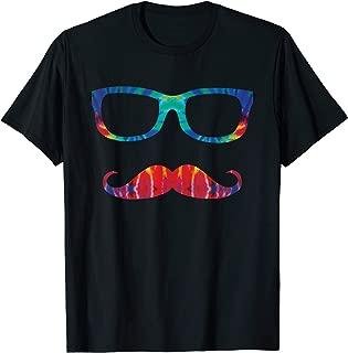 Tie Dye Glasses & Mustache Novelty Retro Hipster T-Shirt