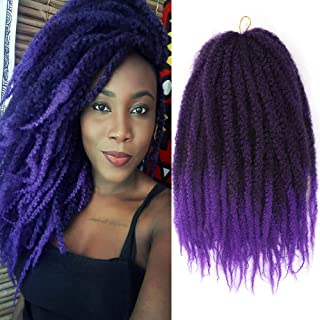 K&G HAIR Afro Marley Twist Hair 18Inch Marley Hair for Twists 3Packs Synthetic Kinkys Twist Braiding Hair Extension(#T1B/Purple)
