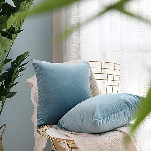 MIULEE Pack Of 2, Velvet Soft Soild Decorative Square Throw Pillow Covers  Set Cushion Cases