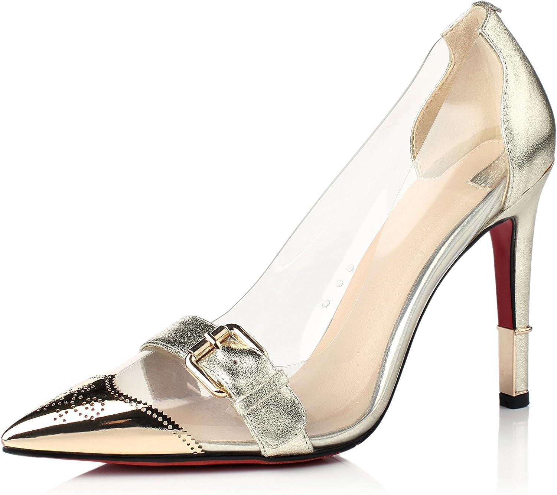 Nine Seven Patent Leather Women's Stiletto Heel Pointed Toe Transparent Pump