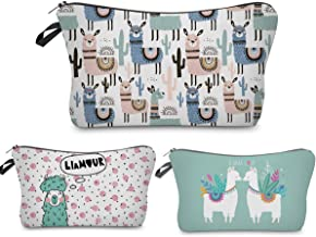 Llama Makeup Bag Funny,Travel Cosmetic Bags Organizer Small Multifunction 3D Printing Toiletry Handbag Waterproof Brushes Storage Pouch for Women Purse,Set of 3