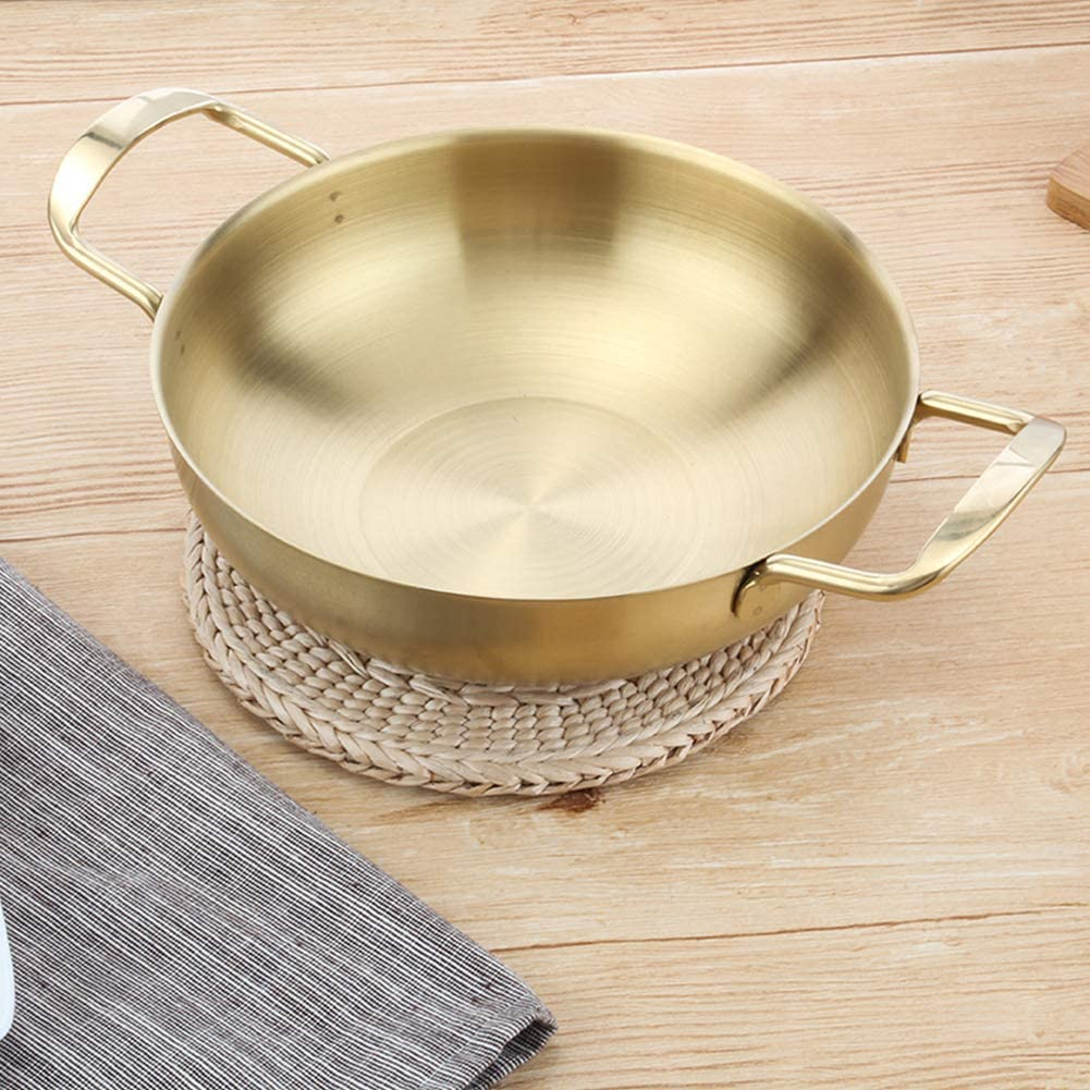 Widened Handle Non-Slip Bottom Restaurant Golden,18cm Hotel Professional Paella Pan Nonstick Stainless Steel Universal for All Sources of Heating for Home