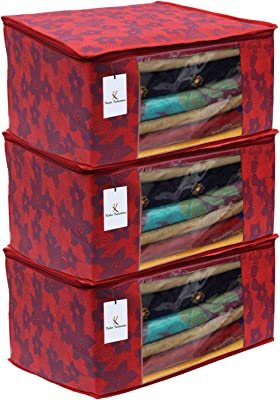 Kuber Industries Metalic Flower 3 Piece Non Woven Saree Cover, Large, Red