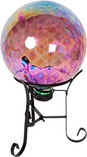 CTG, Embossed Glass Gazing Ball with Metal Stand, 10 inches, Transparent Pink