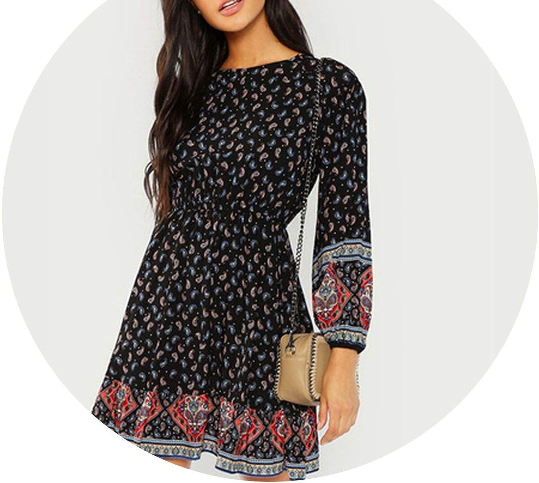 PursuitofselfCA Black Vacation Casual Boho Bohemian Beach Paisley Print Ruffle Hem Long Sleeve Dress