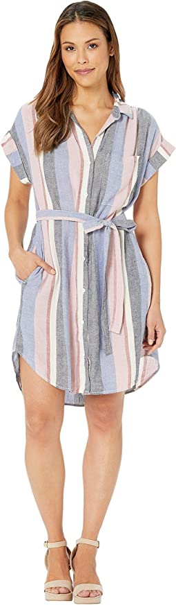 Cap Sleeve Belted Pocket Dress