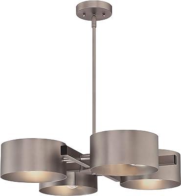 Éclairage Westinghouse 63687 Chandelier d'intérieur Zaro à quatre lampes, finition étain foncé