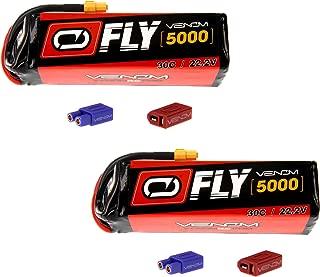 Venom Fly 30C 6S 5000mAh 22.2V LiPo Battery with  UNI 2.0 Plug (XT60/Deans/EC3) x2 Packs Compare to E-flite EFLB50006S30