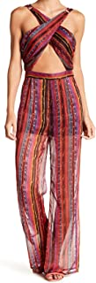Wow Couture Womens Small Cross-Front Striped Jumpsuit Red S