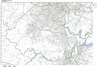 Working Maps Chesterfield County, Virginia VA Zip Code Map Not Laminated