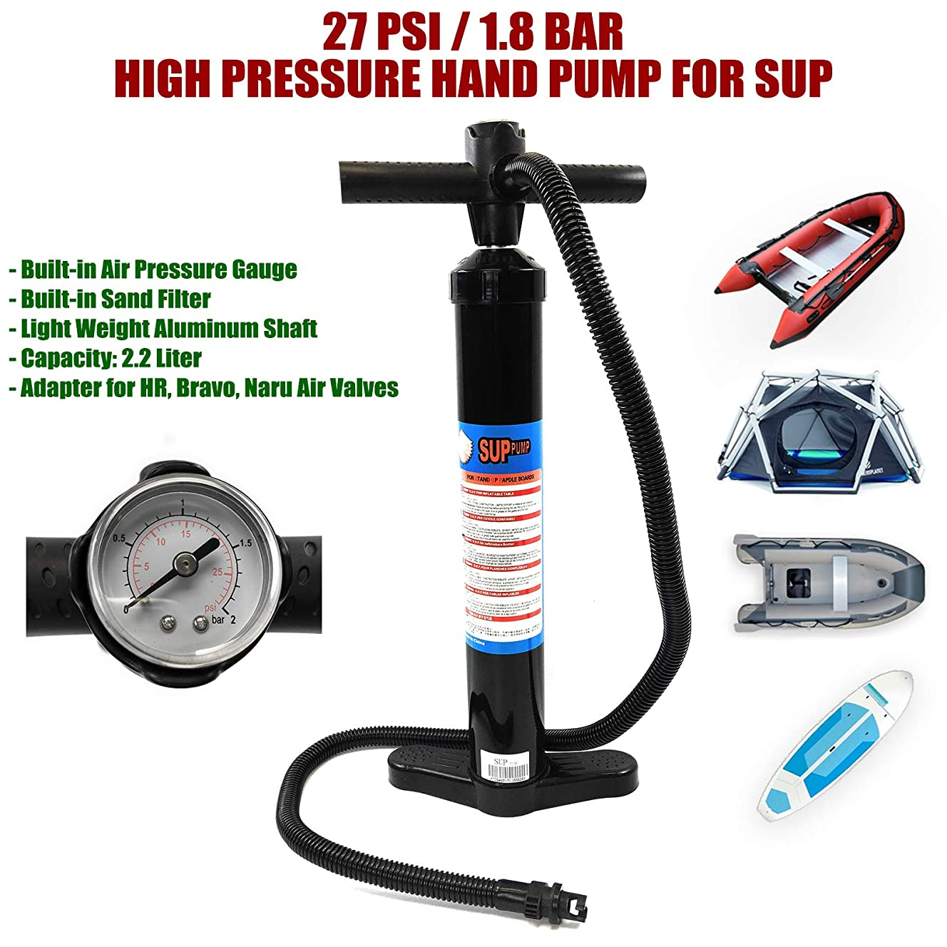 SEAMAX SUP Hand Pump Max 27 PSI, Light Weight to Carry, Good for All Inflatable Paddle Board and Inflatable Boat
