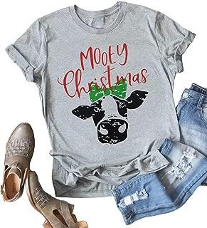 LOTUCY Women Mooey Christmas Heifer T-Shirt Funny Cow Short Sleeve Casual Xmas Tee Tops
