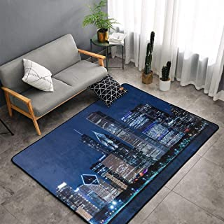 Kitchen Rugs, Floor Mat Doormats Nursery Rugs, Kids Children Play Mat Spa Bathroom Floor Mats, USA Chicago Skyline Night View Throw Rugs Runner, Indoor/Outdoor Entrance Rug