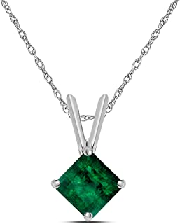 1.00 Ct 5mm Princess Cut Emerald Sterling Silver Solitaire Pendant Necklaces