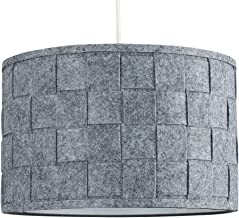 Large Modern Weave Design Drum Ceiling Pendant Light Shade in a Grey Felt Finish