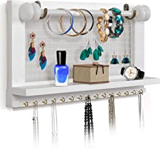 VIEFIN White Wall-Mounted Mesh Jewelry Organizer, Wooden Earring Holder with Shelf, Hanging Hooks for Necklace, Removable Rod for Bracelet(White,Standard)