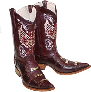 Dona Michi Mens Western Cowboy Leather Crocodile Print/Decorative Straps Boots