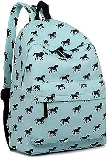 Miss Lulu Backpack School Bag Canvas Horse Rucksack (Blue)
