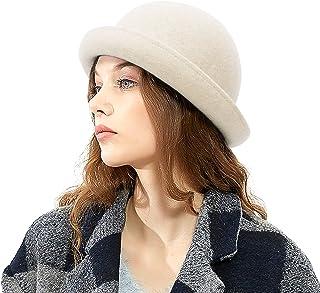 Jelord - Sombrero Mujer Invierno Vintage de Lana 100% Sombrero de Fieltro Sombrero Bomín Eslegante Sombrero Colche de Vest...